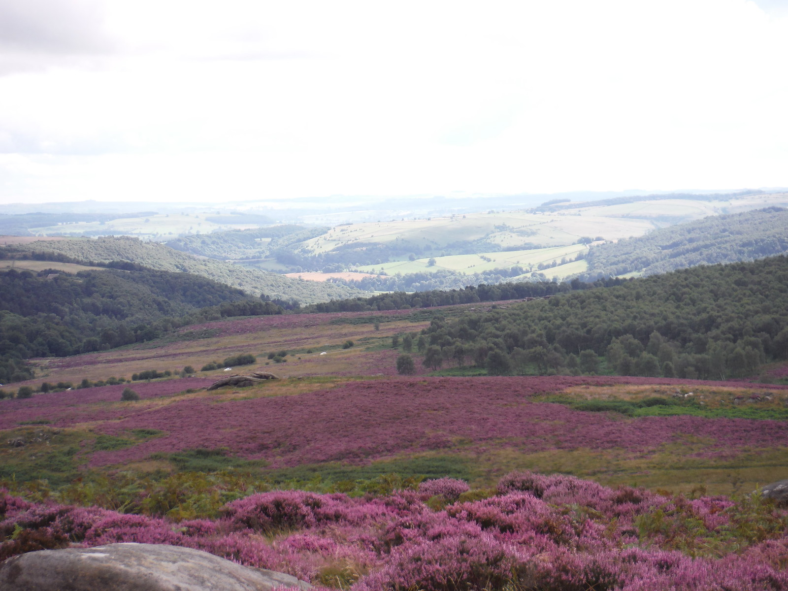 View into Hope Valley from Carl Wark SWC Walk 266 - Sheffield to Bamford (via Burbage Rocks and Stanage Edge) or to Moscar Lodge [via Carl Wark and Higger Tor Alternative]