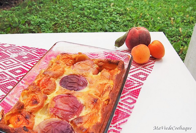 clafoutis pêche abricot sans gluten et sans lactose