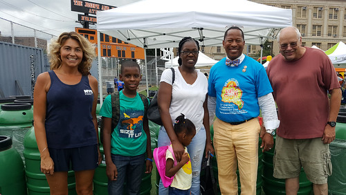 Rain barrel giveaway with Council Member Andy King