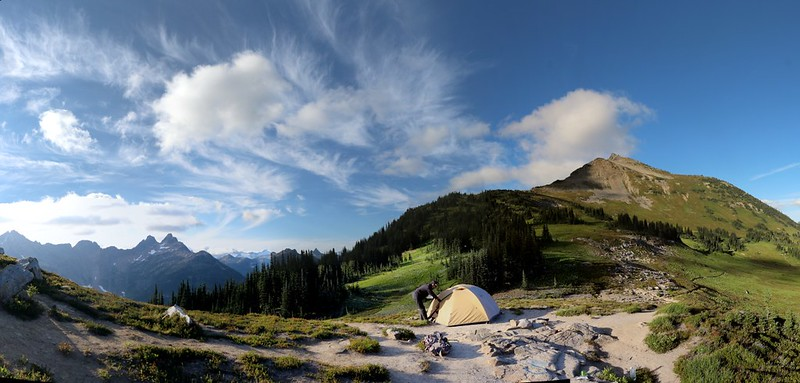 Panorama looking north of our campsite at Cloudy Pass toward Sitting Bull Mountain and Cloudy Peak