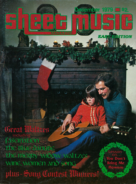 Christmas Cover of Sheet Music Magazine December 1979, Father & Child Playing Guitar