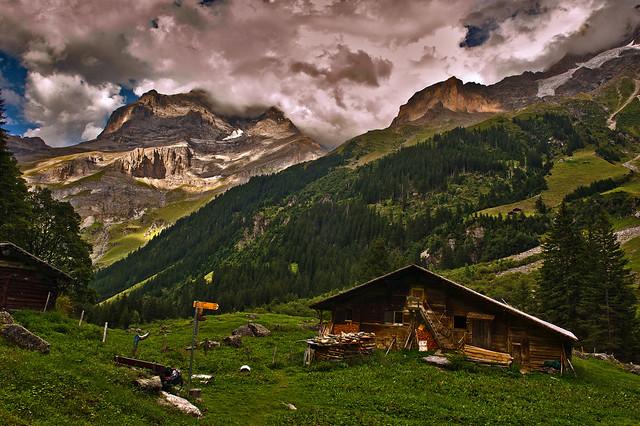 Twilight time on the Jungfrau mountain . Schürboden, Canton of Bern . On the way to Stechelberg. Switzerland. Izakigur 23.08.17, 18:05:41 .No. 7495.