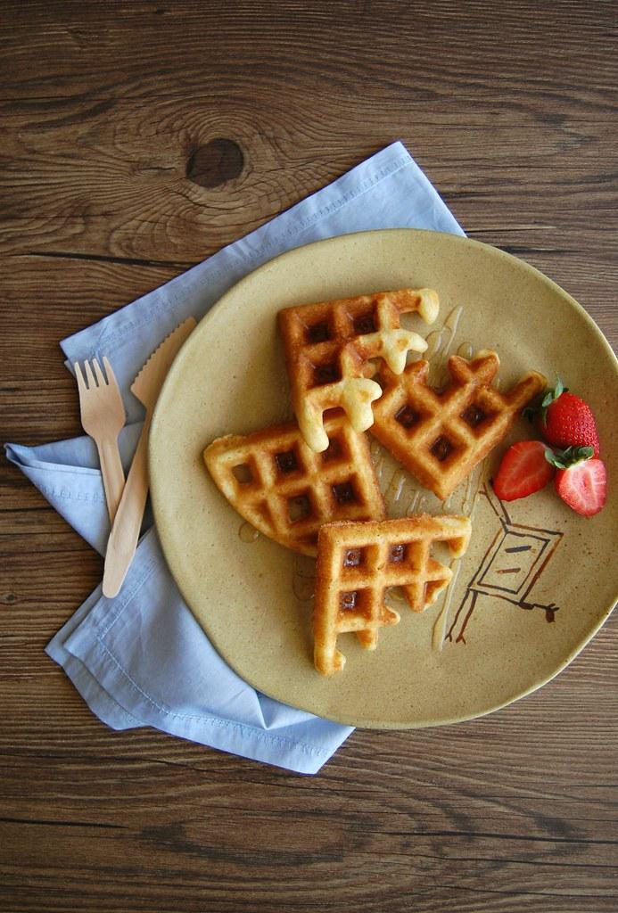 Orange olive oil waffles / Waffles de laranja e azeite de oliva