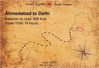 Map from Ahmedabad to Delhi