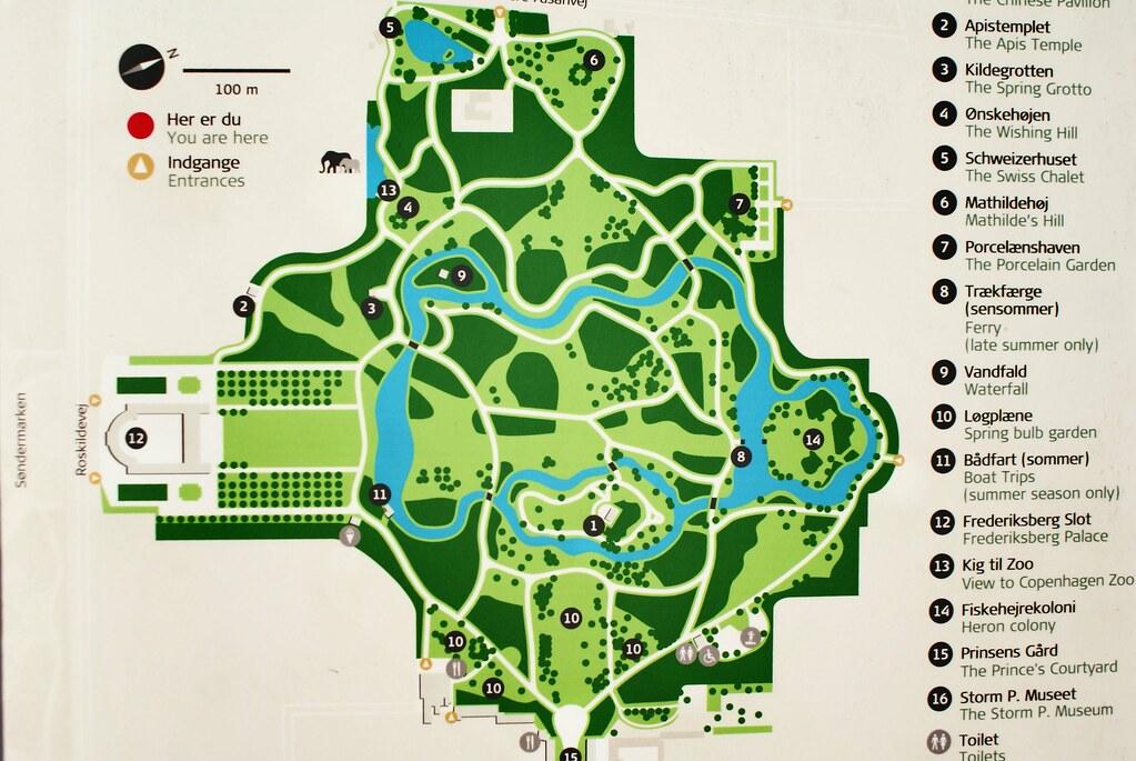 Plan du parc de Frederiksberg à Copenhague.