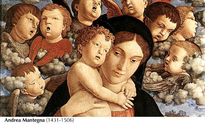 Mantegna, 1485 -María-Niño-querubines