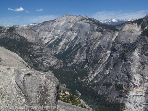 Clouds Rest and the upper reaches of Yosemite Valley from North Dome in Yosemite National Park, California