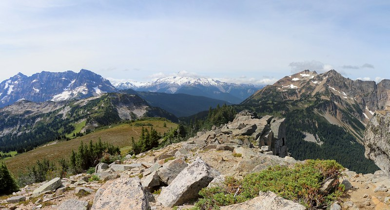 Cloudy Pass, Middle Ridge, Glacier Peak, and Plummer Mountain from the southwest ridge of Cloudy Peak