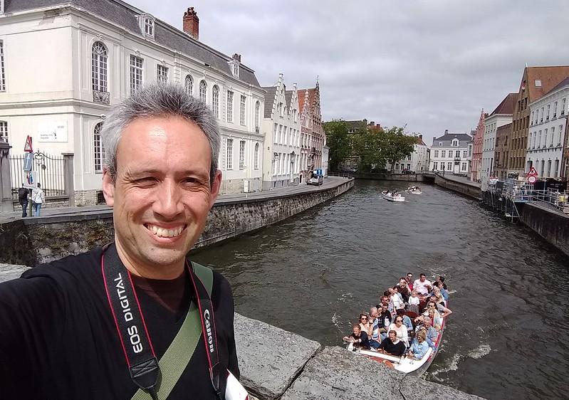 Selfie looking over canal in Brugge, Belgium