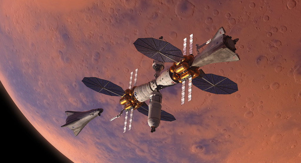 Mars Base Camp Orbiter and Landers
