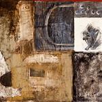 Sangeeta Reddy; Mogadishu Parade; Acrylic, newspaper, clothing, charcoal on canvas; 1994 -