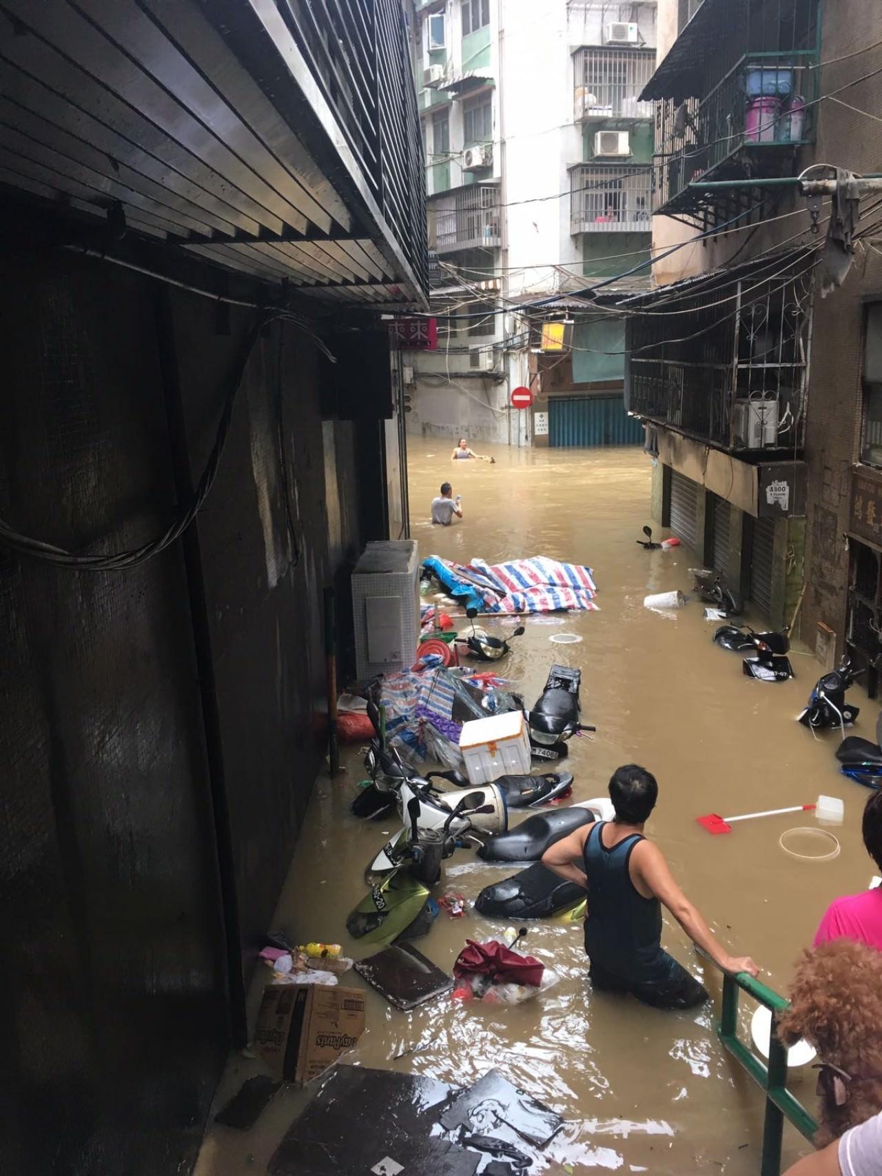 街道水流成河(讀者陳先生提供)