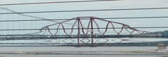Squiggly Forth Rail Bridge from the Queensferry Crossing