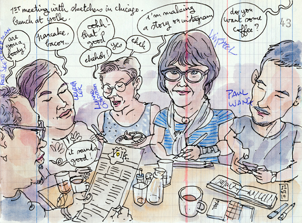 urban sketchers at brunch