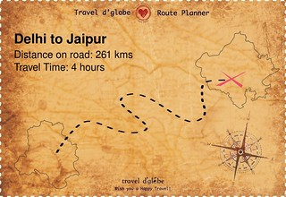 Map from Delhi to Jaipur
