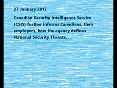 Canadian Security Intelligence Service Updates on 27 Jan 2017