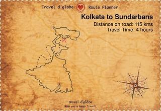 Map from Kolkata to Sundarbans