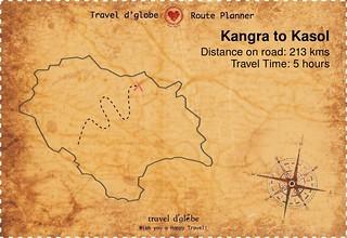 Map from Kangra to Kasol