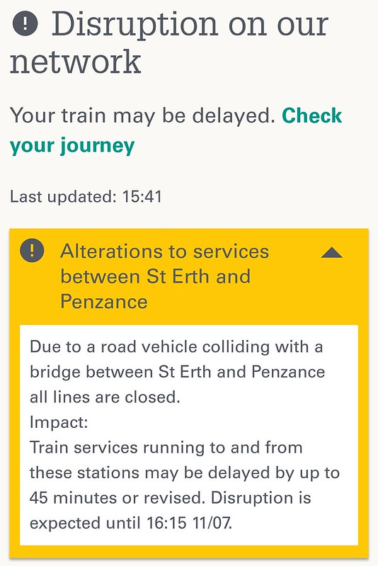 GWR web site: Trains delayed