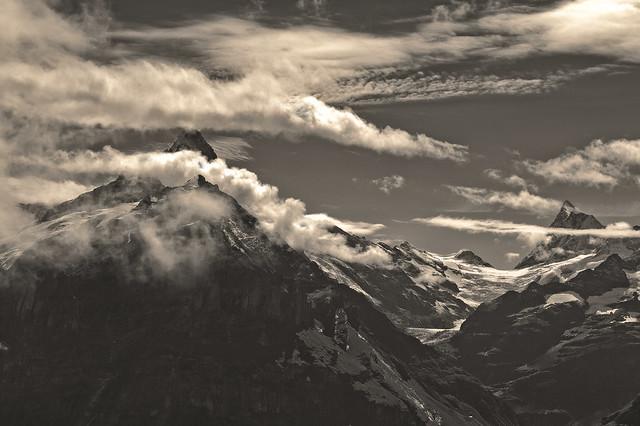 My Switzerland in Black and White .The Wetterhorn & the Finsteraarhorn .  Izakigur No. 8414.