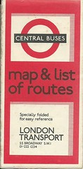 London Transport Central Buses 1969 Map & List of Routes