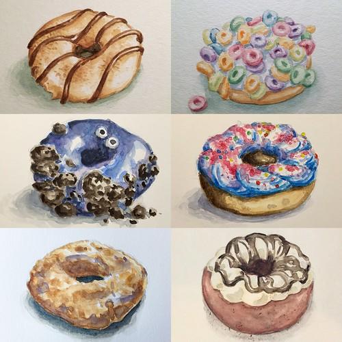 One dozen donut watercolors.