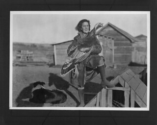 Mrs. Freeman with her prize turkey of the Fraser Valley, British Columbia / Mme Freeman avec sa dinde ayant gagné un prix dans la vallée du Fraser (Colombie-Britannique)