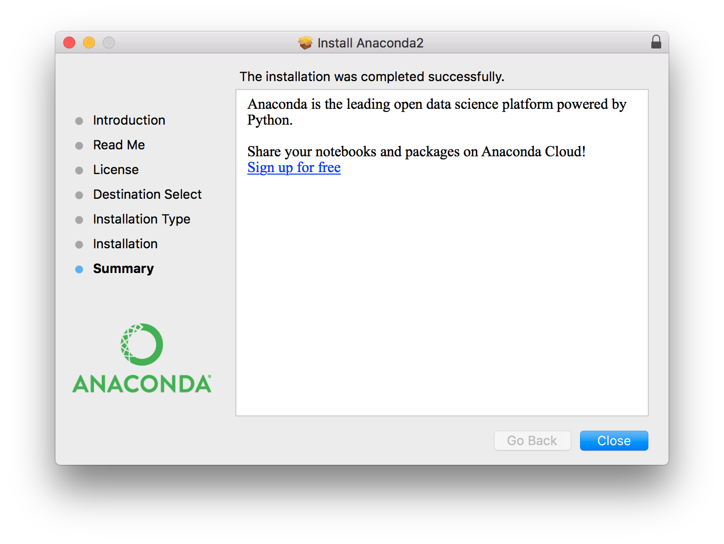 Anaconda2 Successful Install