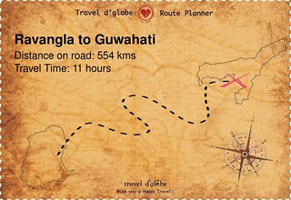 Map from Ravangla to Guwahati