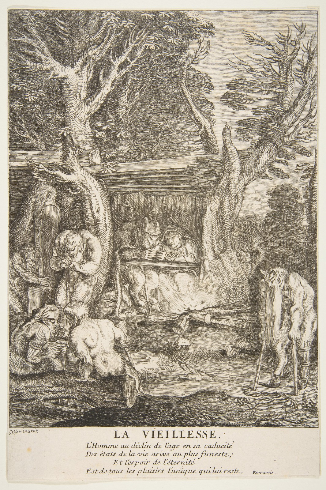 Claude Gillot - Old Age (engraved by Francois Joullain)