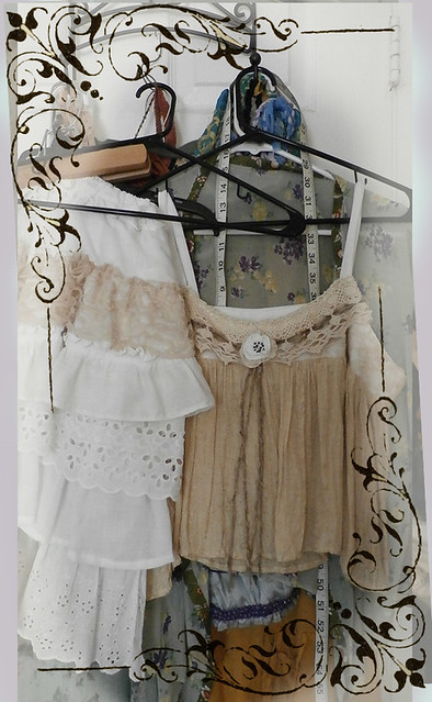 camisole top embellished with vintage crochet lace and ruffled skirt