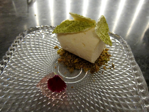 sake kasu parfait, rose jelly, pistachio, meringue, sweet pea