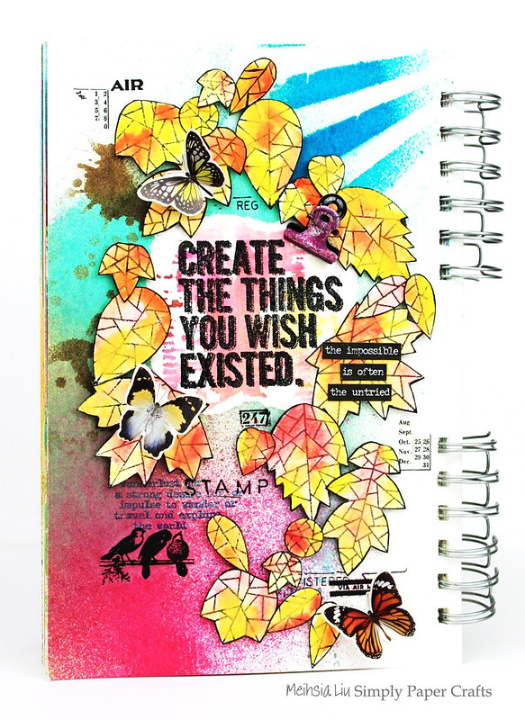Meihsia Liu Simply Paper Crafts Art Journal Create Simon Says Stamp Leaves Tim Holtz 1
