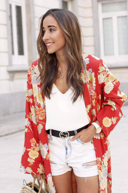 Flowered maxi kimono denim short heels summer girl style fashion16