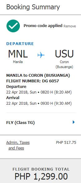 Manila to Coron April 22, 2018 Cebu Pacific Air Promo