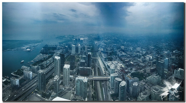 Skyline from Toronto's CN Tower with fog