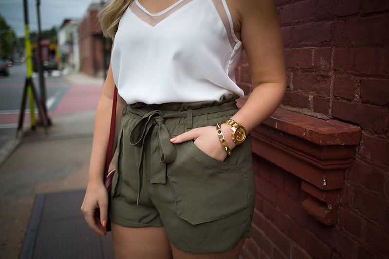 Movado Bold Gold Watch White Mesh Tank Olive Shorts