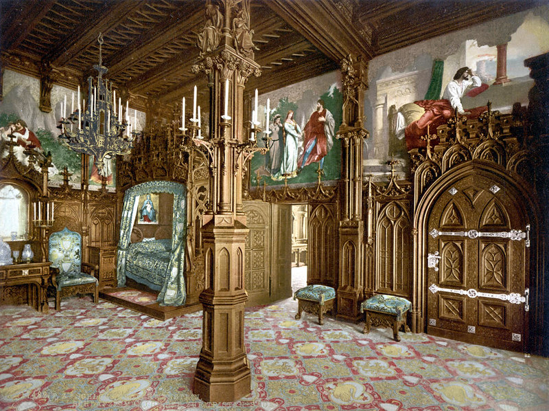 Bedroom, Neuschwanstein Castle, c. 1895