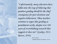 """Educational Postcard: """"Unfortunately, many educators have fallen into the trap of believing that punitive grading should be the chief consequence for poor decisions and  negative behaviours. These teachers ..."""""""