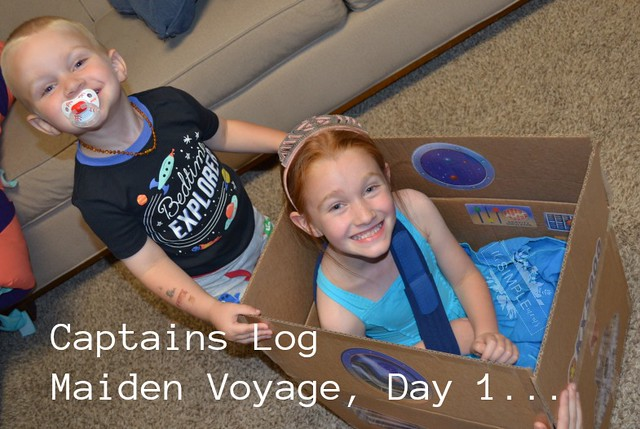 Captain's Log Day 1 eeBoo Spaceship Pretend Play Stickers on The SIMPLE Moms