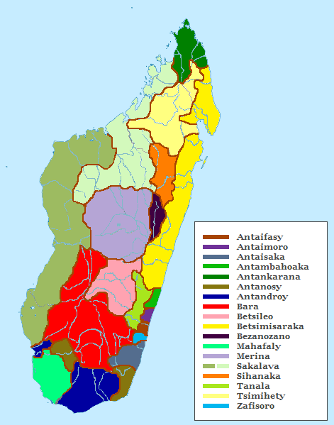 The regional distribution of Malagasy ethnic sub-groups