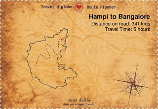 Map from Hampi to Bangalore