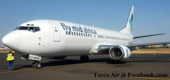 June 2017 | Tarco Air | Boeing 737-400 | C5-MAG | Leased from Fly Mid Africa in Gambia | Khartoum airport | Sudan.