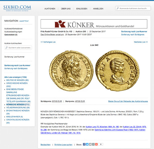 Ex-Numis example Kunker site