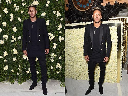 Black-Balmain-blazer,-black-long-t-shirt-and-matching-denim