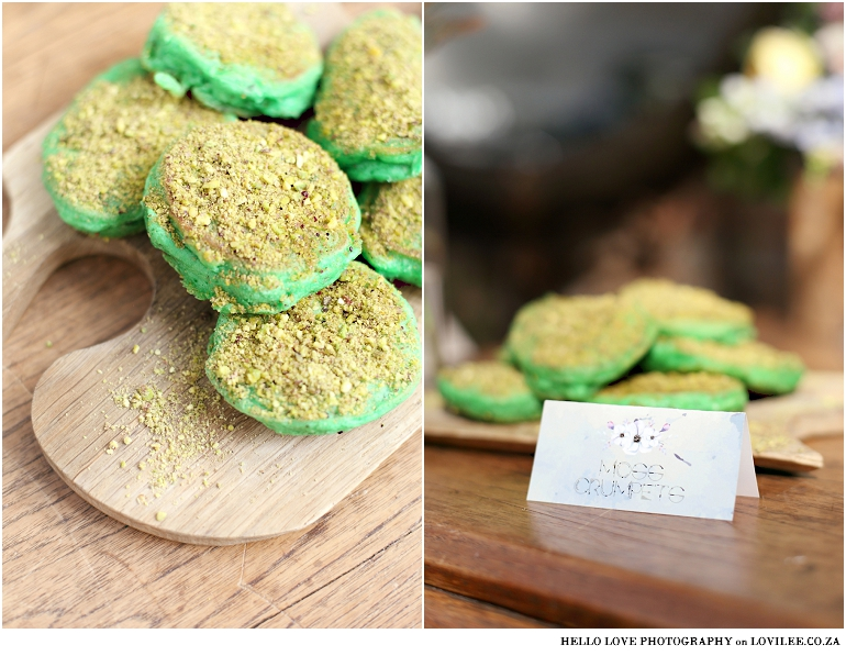 Fox Birthday party food ideas - green moss crumpets