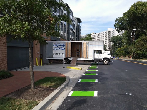 Moving truck blocking the cycletrack on Cedar Street, Silver Spring, Maryland
