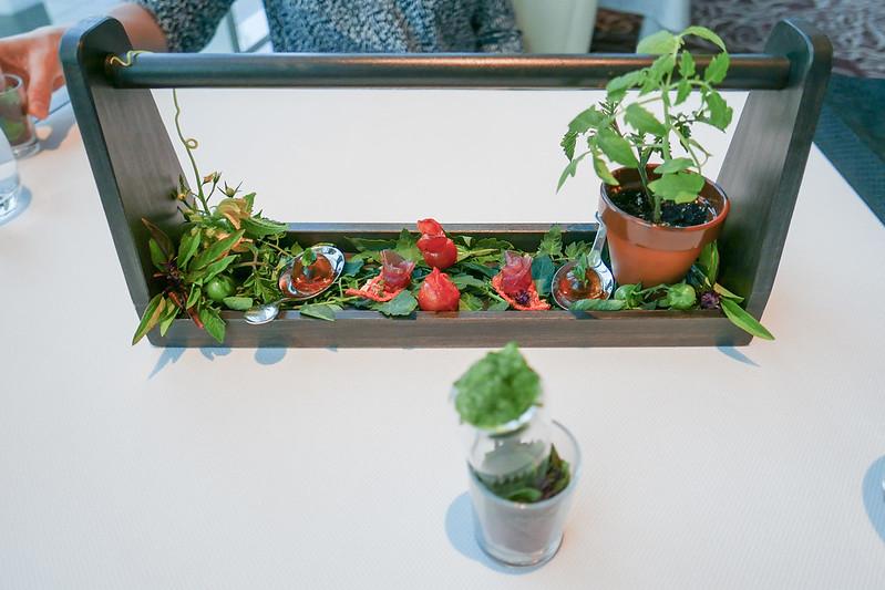 Tomato Basil Garden - Basil Snow   Spoon of Smoked Tomato Water Gelee, Basil Seeds   Yellowtail Tuna Rosette on Tomato Leather   Tomato Skin Confit