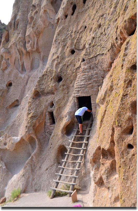 A wooden ladder leading to a cave dwelling at the Bandelier National Monument (5)
