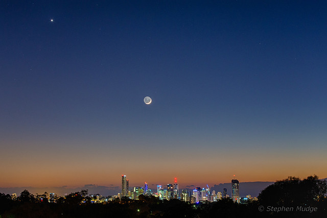 Venus and Moon over Brisbane